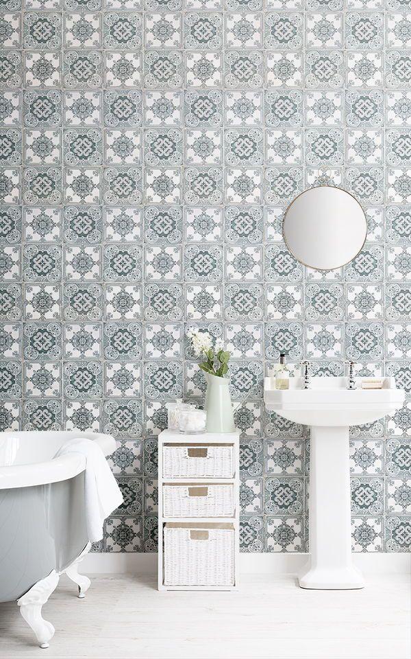 Green Tile Effect Wallpaper Portuguese Tile Design Muralswallpaper Industrial Interior Industrial Decor Rustic Wallpaper