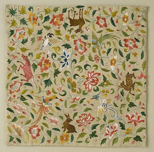 Embroidered square with animals, birds and flowers, late 12th - 14th c.  Eastern Central Asia, silk thread on silk