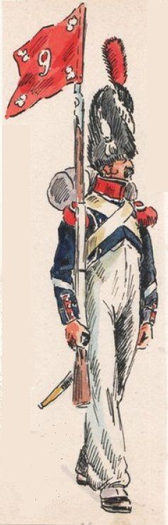 Sergent porte-fanion de Compagnie de Carabiniers du 9e Léger, 1809
