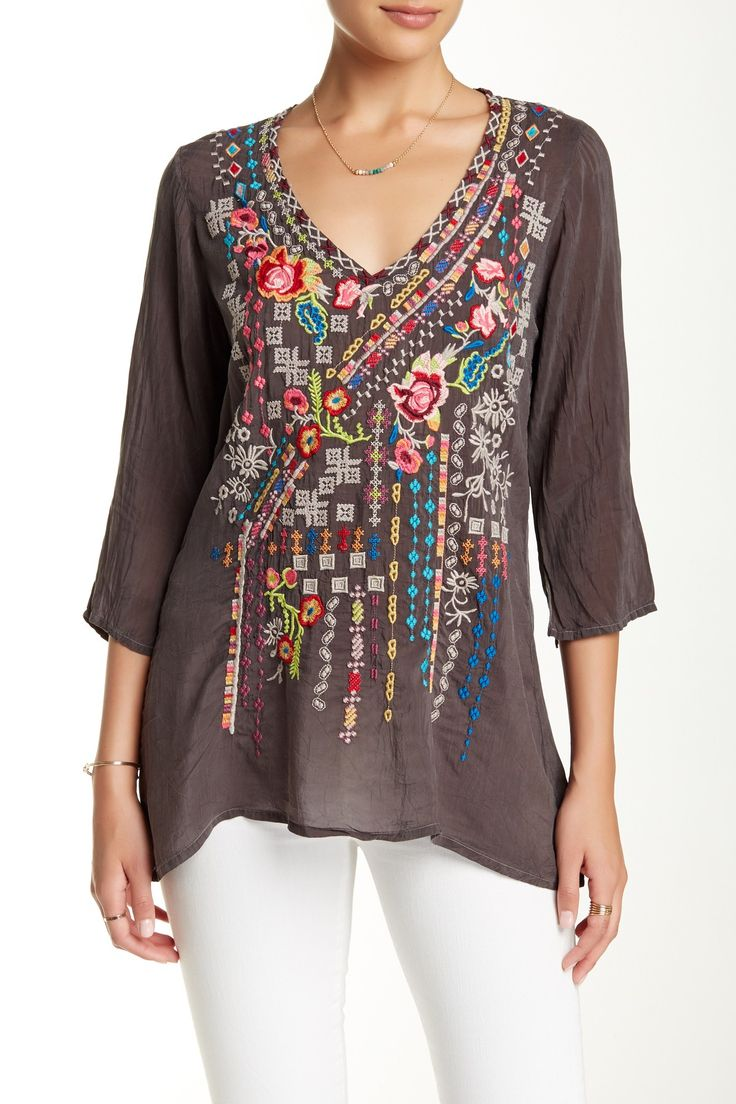 3/4 Sleeve Embroidered Tunic by Johnny Was on @HauteLook