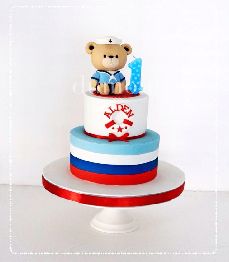 Sailor bear cake for Alden's 1st birthday