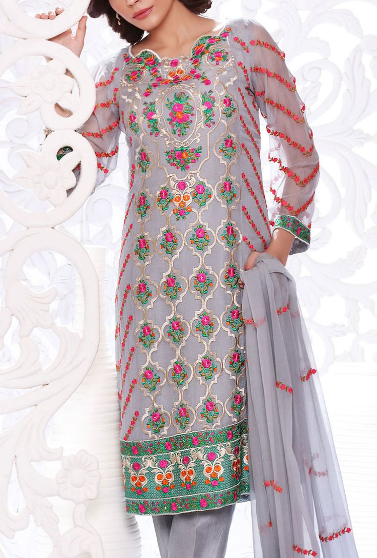 Buy Grey Embroidered Chiffon Dress by SNM 2015.