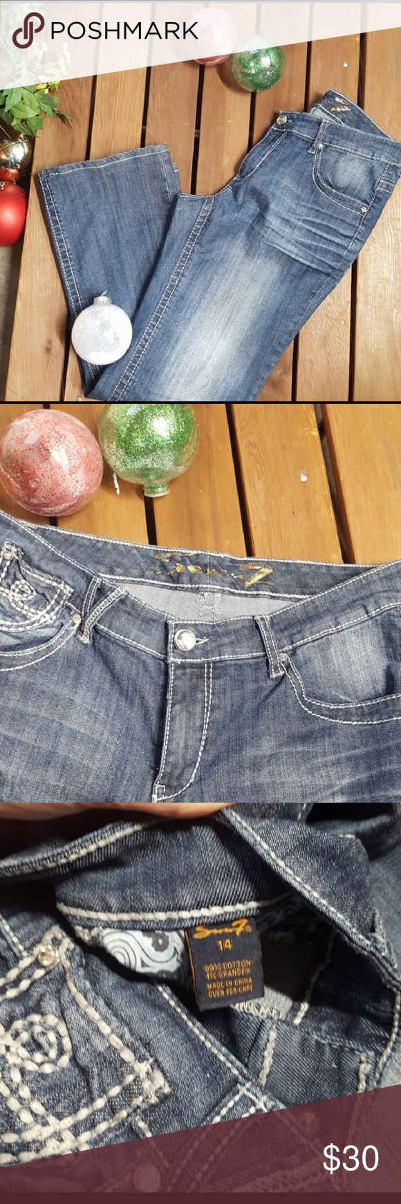 "Seven7 Jeans stylish Denim Jeans 99% cotton 1% spandex Approximate 17"" waist 8"" rise 32"" inseam 9"" cuff Seven7 Jeans Boot Cut"