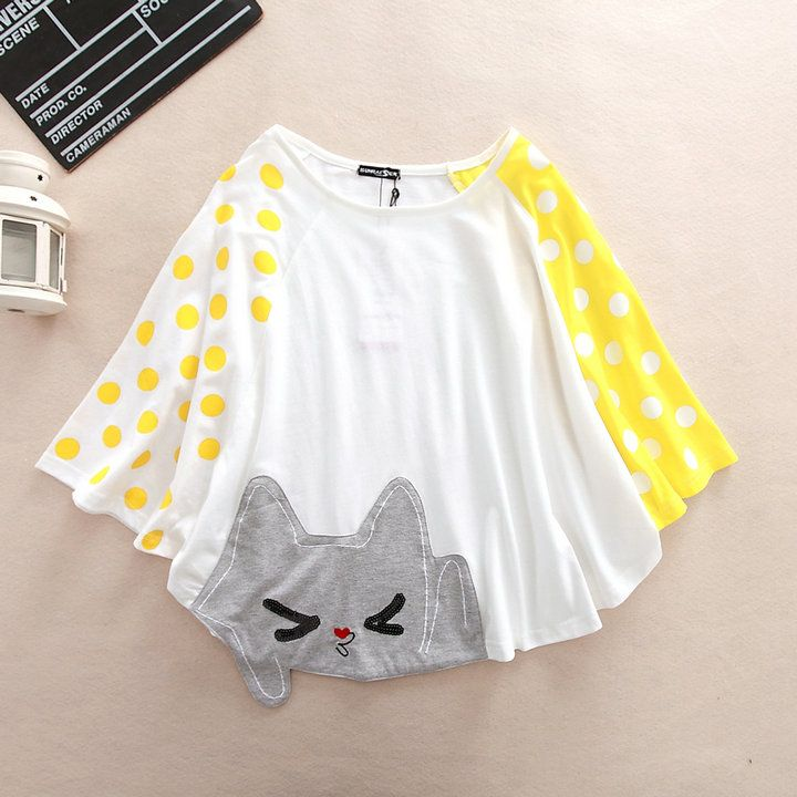 Sleeve type: bat sleeve  Fabric: Cotton  Pattern: cat  Color: gray, white  Size: Free Size: Length 60cm visiting store: http://www.storenvy.com/stores/188265-cute-kawaii find more amazing cute fashion things, some suit for you!
