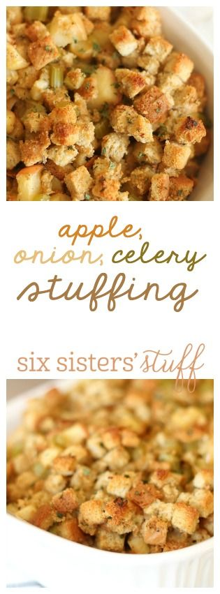 This Apple Onion Celery Stuffing is perfect for Thanksgiving!  SixSistersStuff.com