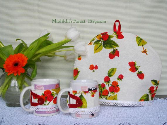Set of fabric teacozy and cupcozies.Handmade by MielikkisForest