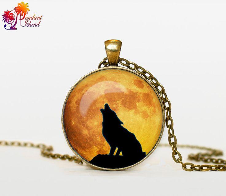 WOLF Pendant wolf necklace wolf jewelry moon by ThePendantIsland