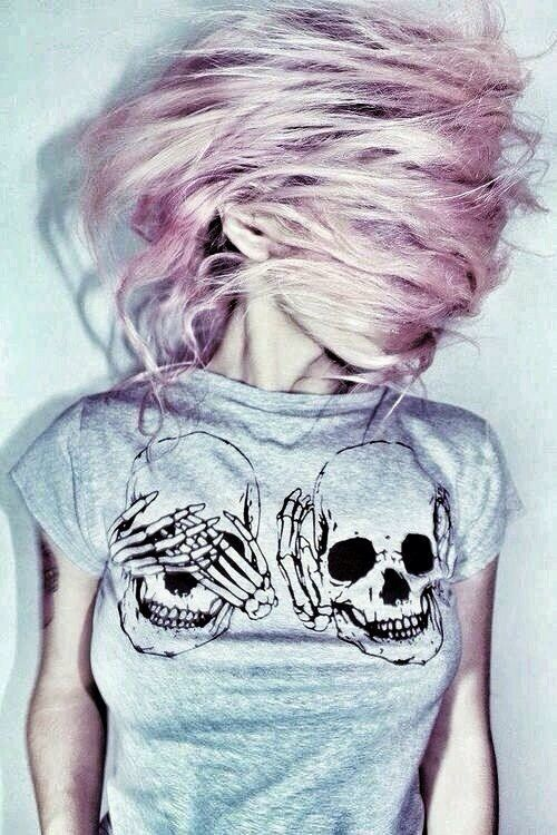 Indie Scene Style : Photo See no evil Hear no evil Also cool photo, pretty hair color