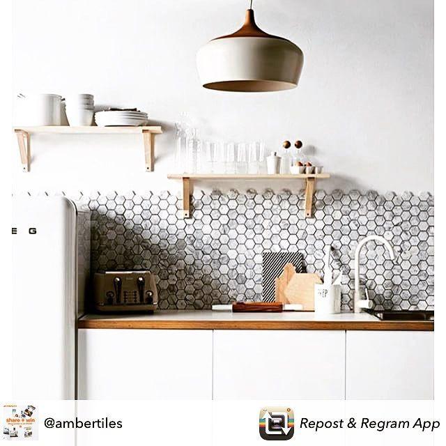 Amber Tiles Kellyville: pinned from @ambertiles_liverpool. Grey carrara hexagon splashback. #splashback