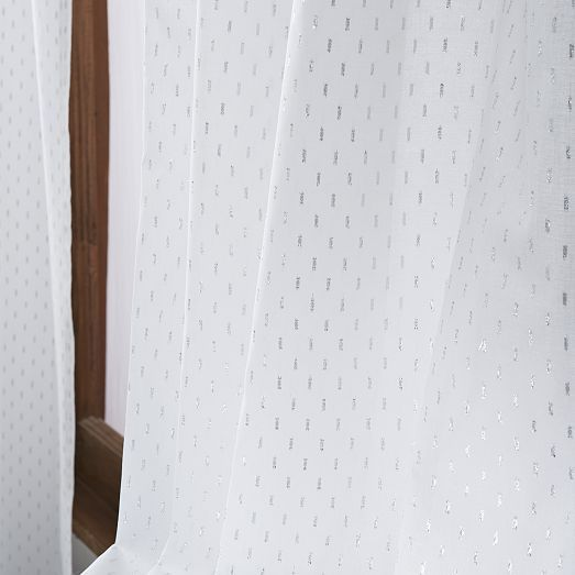Metallic Dash Curtain - White