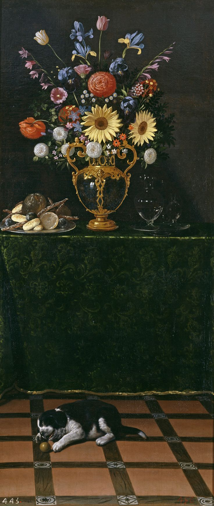 """Juan van der HamenJuan van der Hamen y León (1596-1631) """"Florero y bodegón con perro"""" (c. 1625, Museo Nacional del Prado):"""