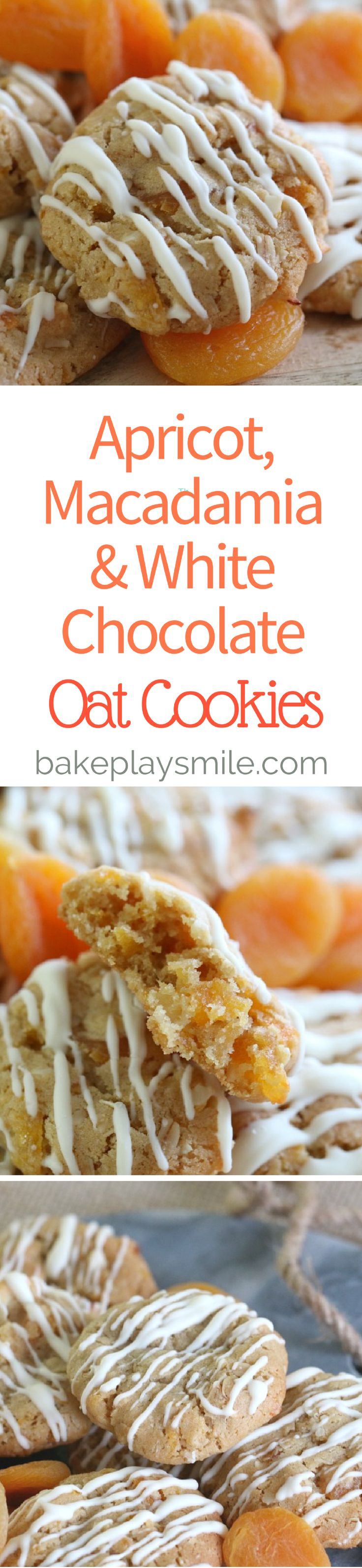 Apricot, Macadamia & White Chocolate Oat Cookies  The most delicious Apricot, Macadamia & White Chocolate Oat Cookies EVER. Hands-down my favourite new cookie flavour combination!!   #apricot #chocolate #macadamia #cookies #biscuits #easy #baking #conventional #thermomix