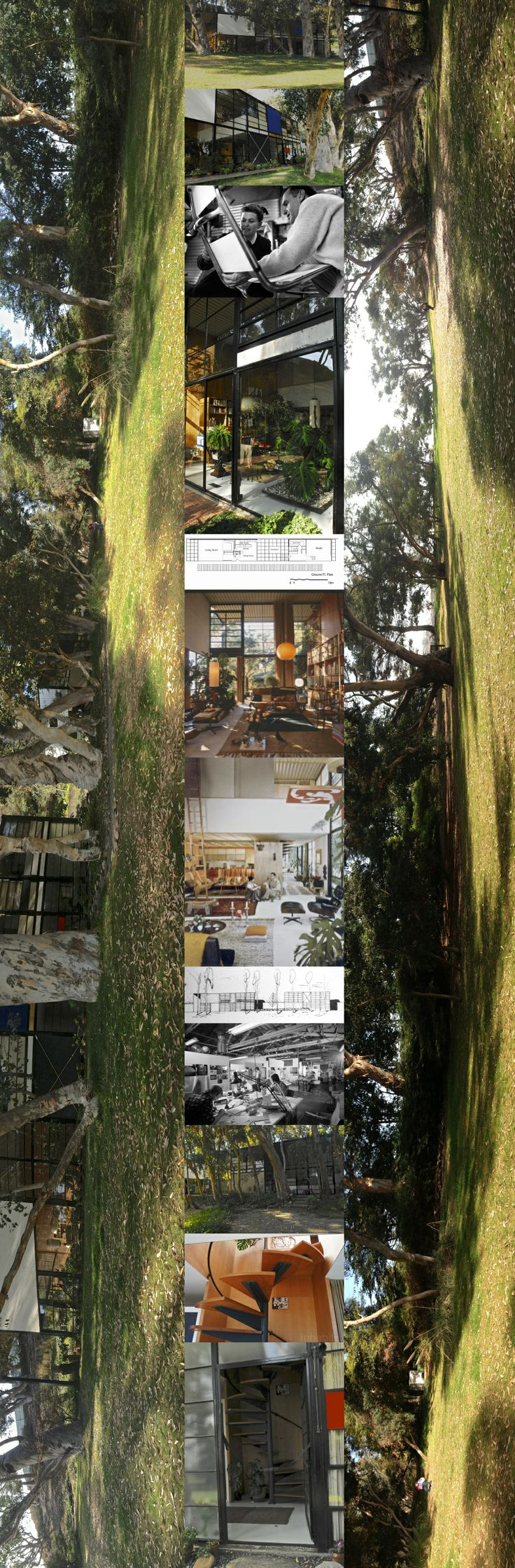"""Imagining Ray, Charles & Studio - Eames House in Santa Monica and what is seldom pictured: It's beautiful open, sunny, soft, pastoral site: a hanging valley on the cliffs above the City of Santa Monica and the sea. Bernice Alexandra """"Ray"""" (née Kaiser) Eames (1912–1988) and Charles Ormond Eames, Jr (1907–1978) and made major contributions to modern architecture and furniture. They also worked in the fields of industrial and graphic design, fine art and film."""