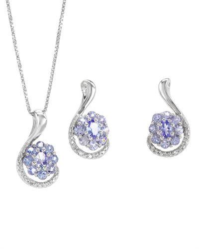 Smykkesett i 925 Sterling sølv med tanzanitt og diamanter. Det følger med anheng, kjede og øredobber. #smykkesett #øredobber #kjede #anheng #sølv #sterling #tanzanitt #diamant #zendesign