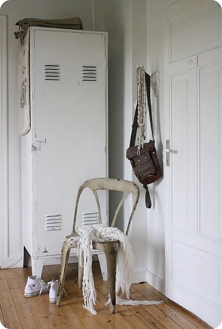 ***vintage locker, storage, white