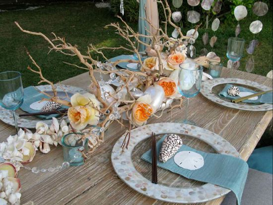 52 best table decor for all occasions images on pinterest seashore decor beach table settingswedding junglespirit Image collections