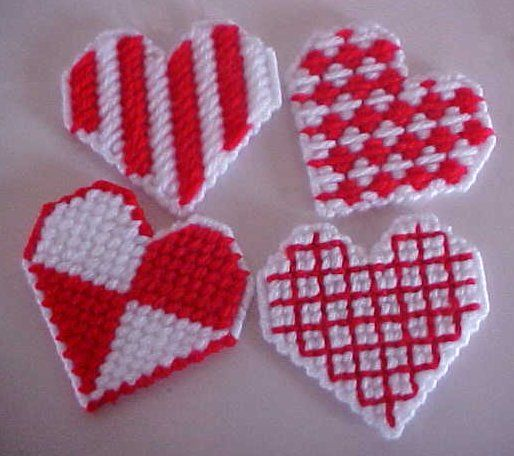 Plastic Canvas: Red and White Hearts