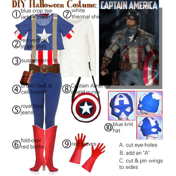 """""""DIY Halloween Costume: Captain America"""" by gakranz on Polyvore"""