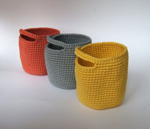Tarn {T-shirt Yarn} can be very functional, make these cute storage baskets that will make your living space not only look colourful but neat too! http://www.tarnsa.co.za/
