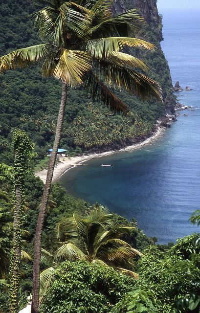 This private beach is located at the base of the Pitons, St Lucia.