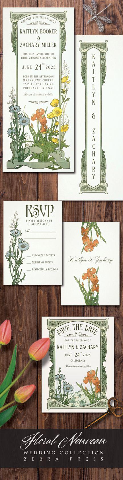 vintage country garden wedding invitations%0A Floral Nouveau Vintage Wedding Invitations  Zebra Press   vintage  floral   wedding