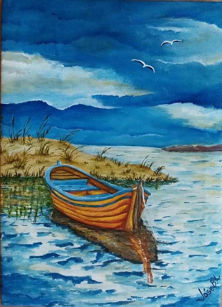 "VENDIDA "" Waiting quietly "" Acrylic on canvas 30x22 cm Author: José M. Blanco Lorenzo"