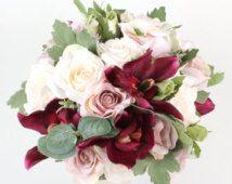 Artificial Silk Flower Wedding Bridal Bridesmaid Bouquet Cream n Dusty Pink Roses Burgundy Orchid Keepsake Rustic Bouque