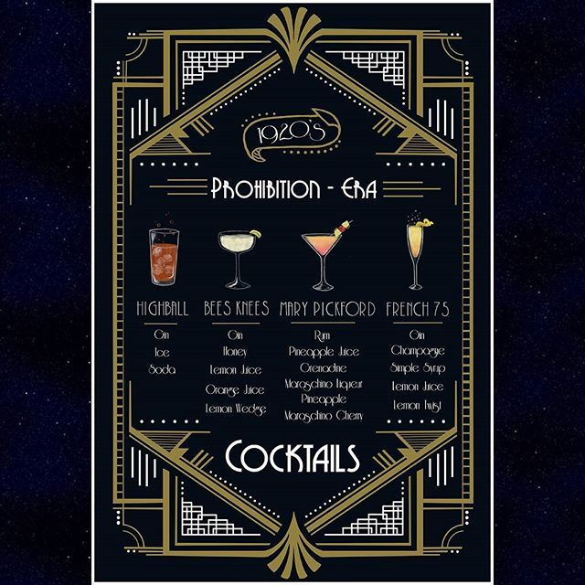 . . . . . #art #artist #digitalpainting #digitalart #graphicdesign #charts #infographic #artdeco #1920s #drinks #alcohol #prohibition #cocktailporn #cocktails #cocktailrecipe #beesknees #marypickford #highball #french75 #design #gatsby #menu #invitation #gold #white #blue