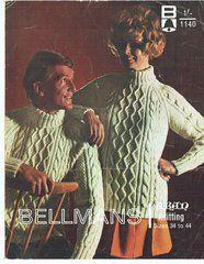 Bellmans 1140 ladies mens aran jumper vintage knitting pattern