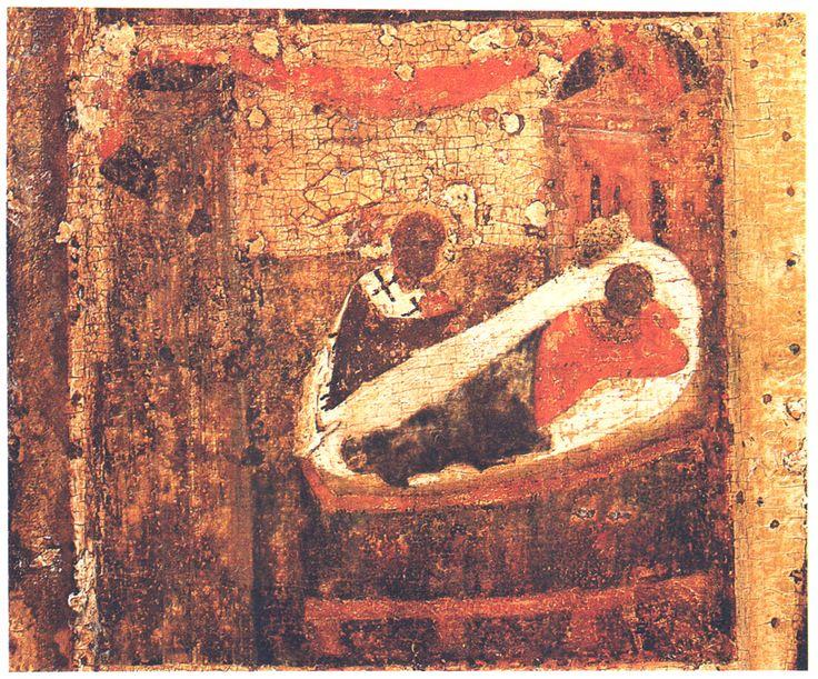 Конец  XIV в.  Никола с житием.  Клеймо. Явление епарху Евлавию..