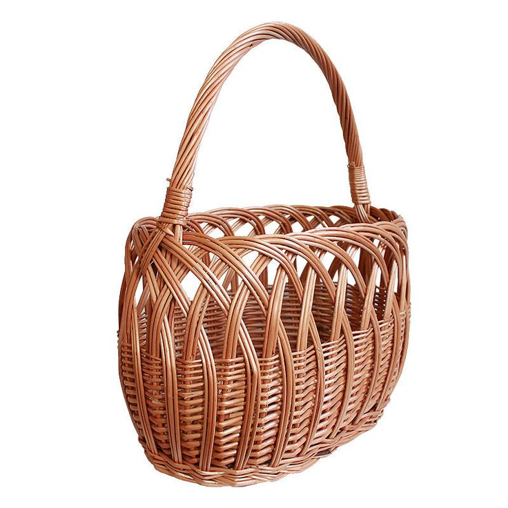 Oval Wicker Shopping Basket with lengthwise handle 37x22x43cm natural kitchen