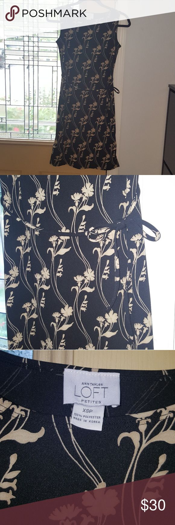 "Ann Taylor LOFT Petite Black Dress Black and Tan floral dress with a wait belt and 4"" slits on each side of dress hem. Sophisticated. Business causal. LOFT Dresses Strapless"