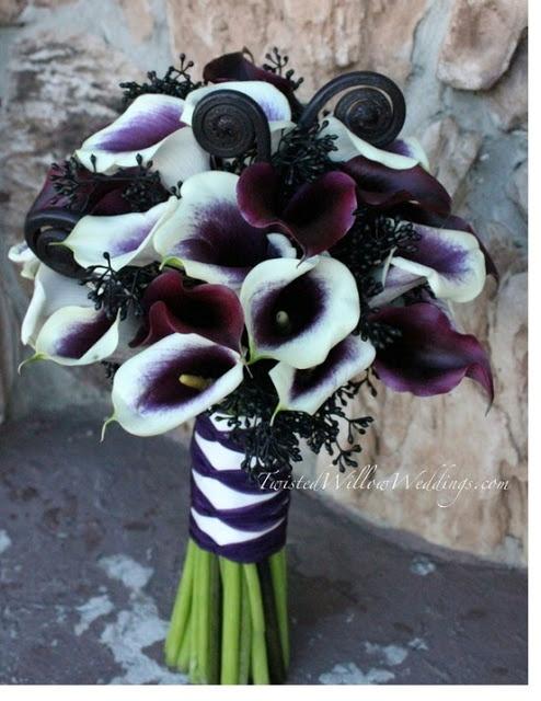 calla wedding bouquet flowers white purple