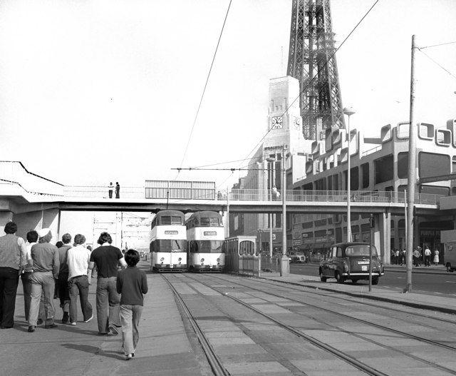 Trams near Blackpool Tower