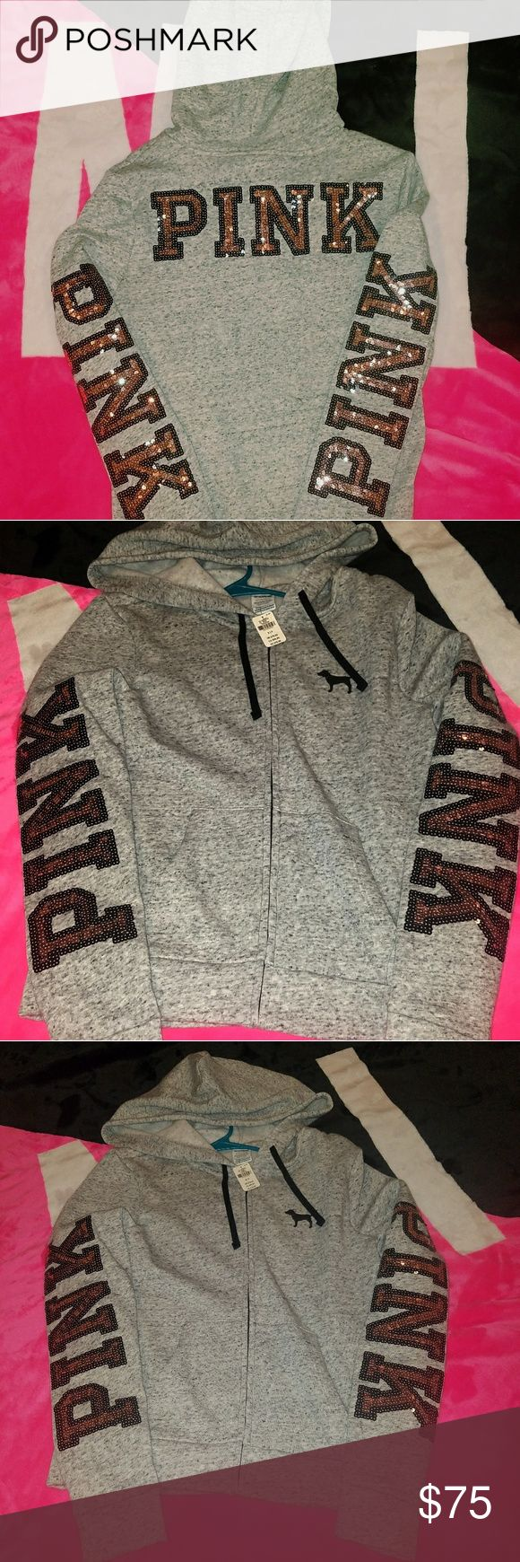 VS PINK SMALL BLING NWT BRAND NEW STYLE  CURRENTLY IN STORES AND ONLINE  PAID STRAIGHT FULL PRICE FOR THIS ONE SO.MY PRICE IS NON NEGOTIABLE  SORRY.  WOULD RECOMMEND THIS FOR AN EXTRA SMALL OR A SMALL.BUT NOT FOR A MEDIUM.  HEATHERED GRAY WITH ROSE GOLD BLING LOGOS    NO I CANNOT TRADE THIS  NO I WILL NOT TAKE MUCH LESS BECAUSE I CAN STILL GET A FULL REFUND   THANKS FOR YOUR UNDERSTANDING   HAPPY POSHING PINK Victoria's Secret Tops Sweatshirts & Hoodies