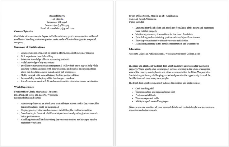 Front Office Agent Resume resume sample Pinterest Front office - public service officer sample resume