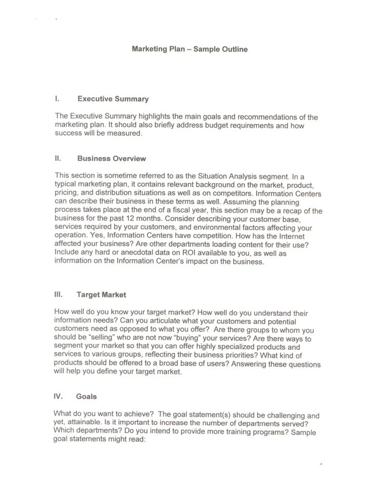 Examples Of An Executive Summary | Marketing Plan   Sample Outline I. Executive  Summary