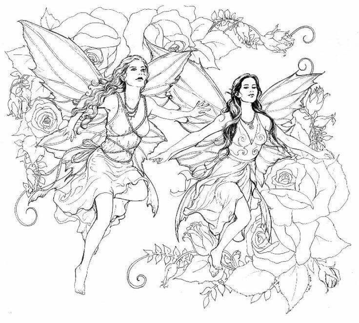 Fairy Coloring Pages For Adults 387 Best Fairies Coloring Images On Pinterest  Coloring Books .