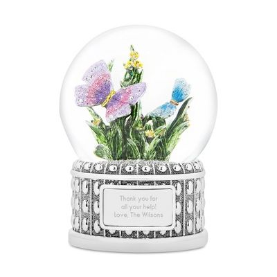 """Our personalized Jeweled Butterfly Snow Globe is a garden under glass, and plays the """"Flower Song"""". Personalize the front of the base with a date, names and a special message. https://www.thingsremembered.com/product/Jeweled-Butterfly-Musical-Snow-Globe/176658.uts"""