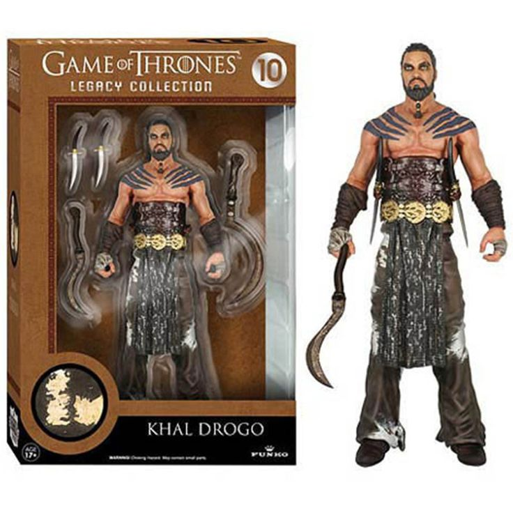 This is a Khal Drogon action figure that is produced by Funko. The Khal Drogo action figure stands roughly 6 inches tall and is part of Funko's Legacy Collection of action figures. Over 20 points of a