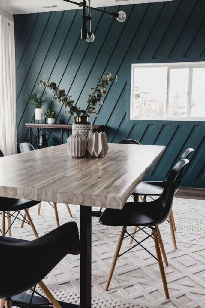 How To Make A Diy Wood Slat Accent Wall Love Create Celebrate In 2020 Accent Walls In Living Room Dining Room Accents Dining Room Accent Wall