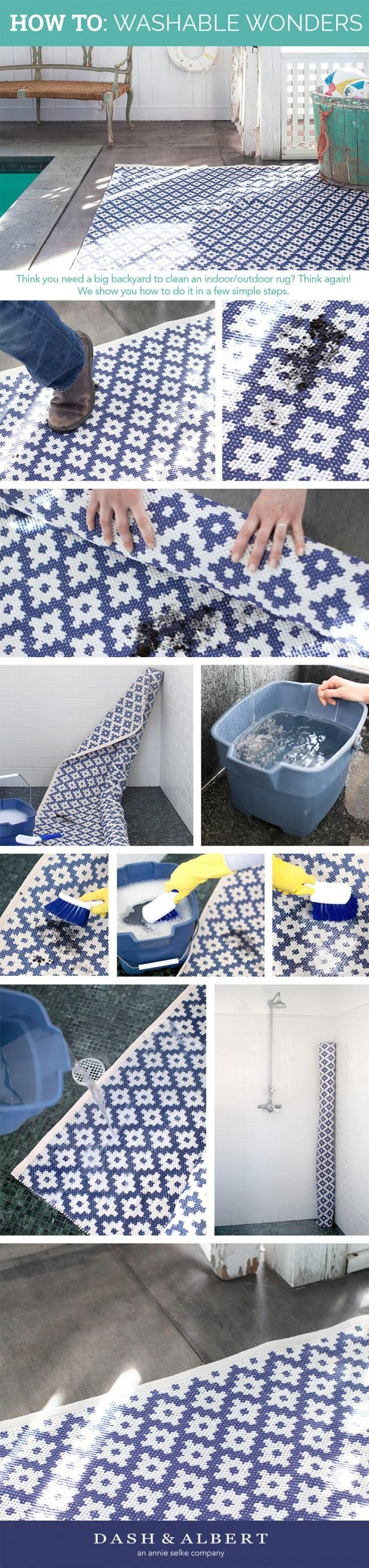 Washable Wonders: How to Clean a Rug in Small Space. Well, hang on to your socks, stylephiles, because we've got some ped-blowing news: it's actually super easy to clean an indoor/outdoor rug—even a big boy, like our Samode Denim, shown here—inside your shower or tub. Here's how our apartment-dwelling staffers do it: