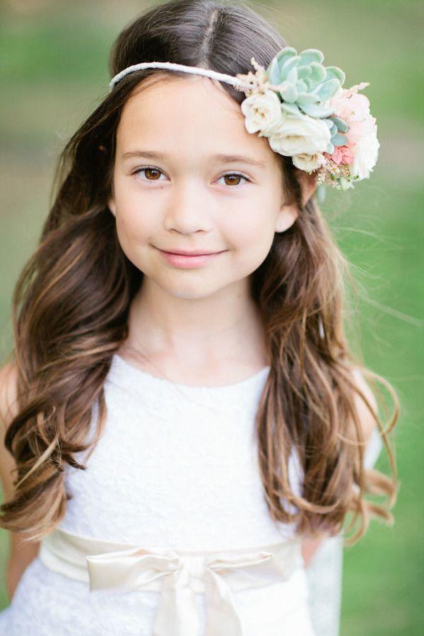 little girl curly hairstyles with flower crown - Deer Pearl Flowers