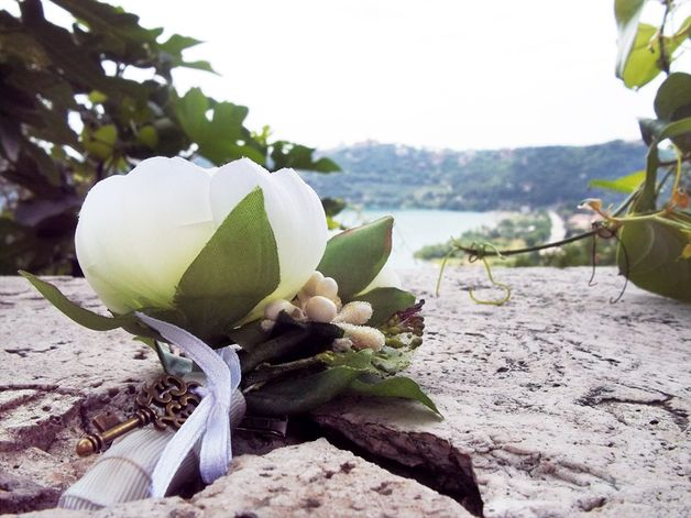 Men's Wedding Accessories – White Ranunculus - Groom's Boutonniere – with a key to the Bride's Heart!