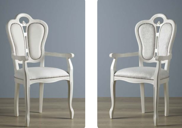 Geena White High Gloss Italian Made Carver Dining Chairs