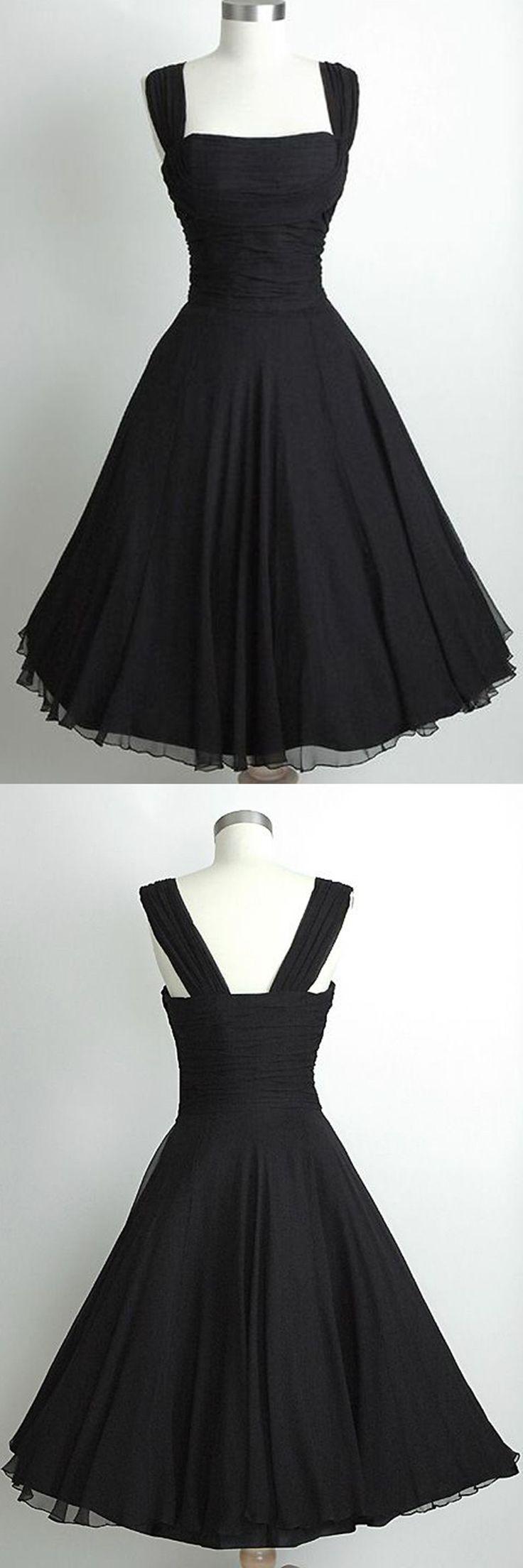 homeoming dress,black homecoming dress,vintage homecoming dress,tea length homecoming dress,a-line homeoming dress