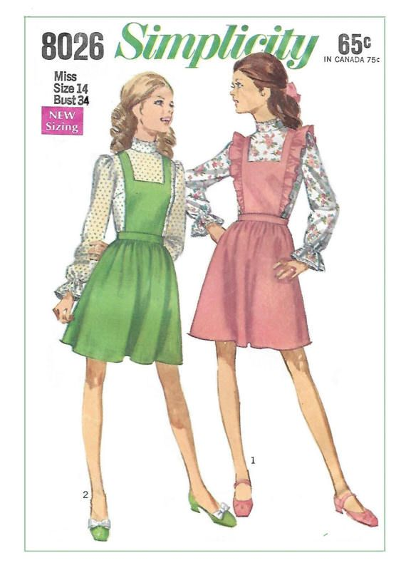 Simplicity 8026 Misses 60s Bib Jumper or Pinafore by Denisecraft