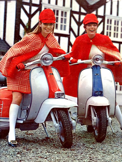 Scooters girls vintage fashion style color photo print ad model magazine mod quad red orange outfits suits cape hat shoes skirt vespa 60s