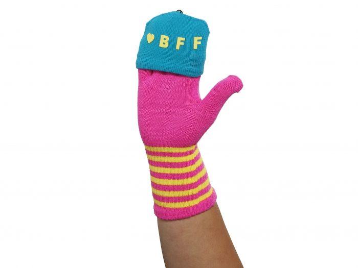 Flap gloves BFF pink w. yellow & blue - Handschoen, handschoenen, touchscreenhandschoenen - Relatiegeschenken