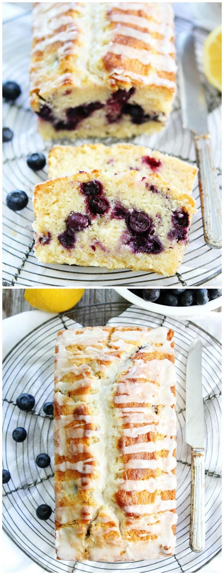 Lemon Blueberry Loaf Cake Recipe on twopeasandtheirpod.com This simple lemon loaf cake is bursting with blueberries! It is the BEST cake recipe!